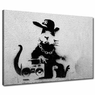Banksy-Art-Canvas-Ghetto-Blaster-Rat-0095AA06745P-Black-and-White